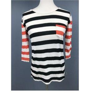 J.Crew Black & Orange Striped Tee women's size XS